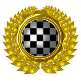 Racing flag. In a wreath Stock Photo