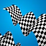 Racing Flag Background. Vector. Checkered Racing Flag Background on a Blue for Web Design. Vector illustration Stock Photos