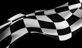 Racing flag on black. Background , 3d image render Stock Photography
