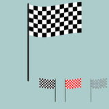 Racing flag black and white colour. Royalty Free Stock Photo
