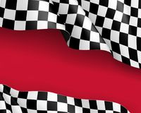Racing flag canvas realistic red background. Symbol marking start and finish. Vector illustration Royalty Free Stock Image