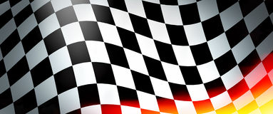 Racing flag with flames. Empty banner and place for your text Stock Photos