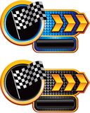 Racing flag on gold arrow nameplate banners royalty free illustration