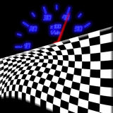 Racing flag and neon glowing odometer. On the black Royalty Free Stock Image