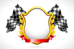 Racing Flag with Shield Royalty Free Stock Images