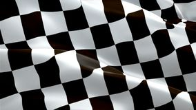 Racing Flag Start Race waving in wind video footage Full HD. Realistic Finish Line Racing background. HD Checkered Flag Looping Cl