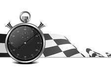 Racing flag with stop watch Royalty Free Stock Photo