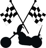 Racing flags. With a motorbike Royalty Free Stock Photos