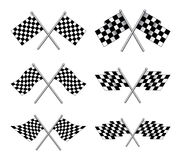 Racing Flags. Illustration of six different styles of black and white racing flags Royalty Free Stock Photography