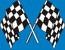 Racing flags. On blue background Royalty Free Stock Photos