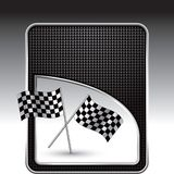 Racing flags on black checkered background Stock Image