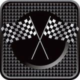 Racing flags black checkered web button Stock Photo