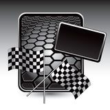 Racing flags on black hexagon advertisement Stock Photo
