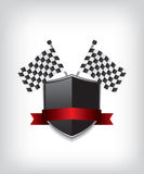 Racing flags and black shield Royalty Free Stock Photo