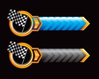 Racing flags on blue and black arrows Royalty Free Stock Image