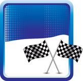 Racing flags on blue halftone background Stock Images