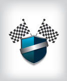 Racing flags and blue shield. Background illustration Stock Photography