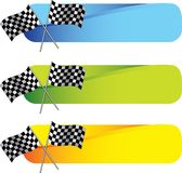 Racing flags on colored tabs Stock Photo