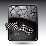 Racing flags on cracked silver background Royalty Free Stock Photos