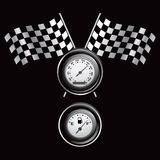 Racing flags and gauges Stock Photo