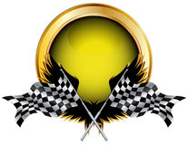 Racing flags and golden button Royalty Free Stock Images
