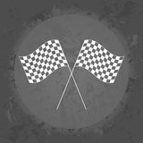 Racing flags icon on gray vintage background . Stock Photos