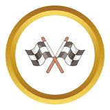 Racing flags icon. In golden circle, cartoon style isolated on white background stock illustration