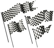 Racing flags on metal poles Stock Images