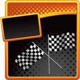 Racing flags on orange and black halftone ad Royalty Free Stock Image