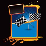 Racing flags on orange splattered banner. Orange grungy advertisement with crossed checkered racing flags Stock Images