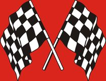 Racing Flags on red background. Illustration Royalty Free Stock Images