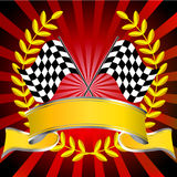 Racing flags in red with wreath and banner. Checkered racing flags with red starburst background with wreath and red banner stock illustration