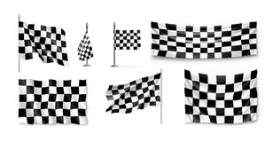 Racing flags set realistic. Collection of standards for marking start and finish. Vector illustration Royalty Free Stock Images