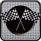 Racing flags on silver checkered web button Royalty Free Stock Photos
