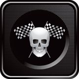 Racing flags and skull on black checkered web icon. Black checkered web button with crossed racing flags and skull Royalty Free Stock Photography