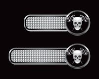 Racing flags and skull on checkered tabs Stock Image