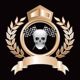 Racing flags and skull gold royal crest Royalty Free Stock Photos
