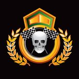 Racing flags and skull in gold royal display Royalty Free Stock Image