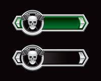 Racing flags and skull on green and black arrows. Black and green arrow banner templates with crossed racing checkered flags and skull Stock Photos