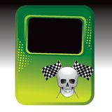Racing flags and skull on green halftone ad Royalty Free Stock Photo