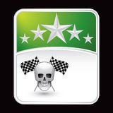 Racing flags and skull on green star backdrop Royalty Free Stock Photo