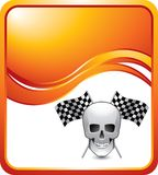 Racing flags and skull on orange wave backdrop Stock Image