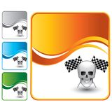 Racing flags and skull on orange wave background Stock Images