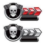 Racing flags and skull on red and white arrow tabs Royalty Free Stock Images