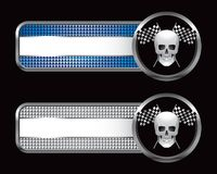Racing flags and skull on striped banners Stock Photo
