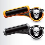 Racing flags and skull on tilted banners Stock Photos