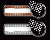 Racing flags on specialized banners. Striped banners with racing checkered flags Stock Images