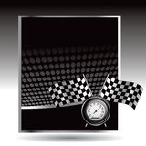 Racing flags and speedometer on black halftone ad Stock Photo