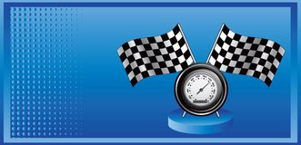 Racing flags and speedometer on blue halftone ad Royalty Free Stock Image