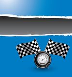 Racing flags and speedometer on blue ripped banner Royalty Free Stock Photos